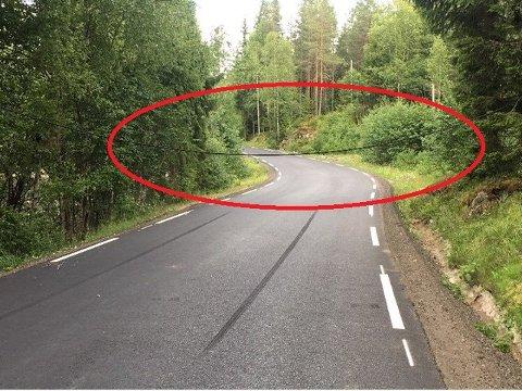Denne ledningen lå over veien da Magnus og Malin kom kjørende.