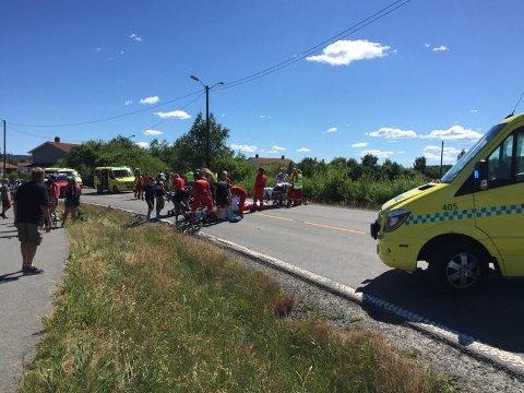 SKADD: Totalt er det 12 personer som skal ha blitt skadet i sykkelveltet under veteran-NM i Aurskog-Høland søndag ettermiddag.