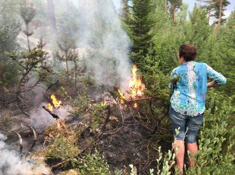 SKOGEIER: Aina Os oppdaget skogbrannen to kilometer unna gården på Finstadbru i Aurskog-Høland.