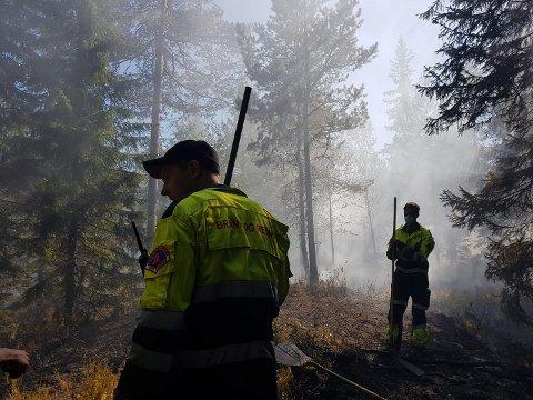 I AKSJON: Brannvesenet i aksjon i Aurskog-Høland under en av skogbrannene tidligere i juli.
