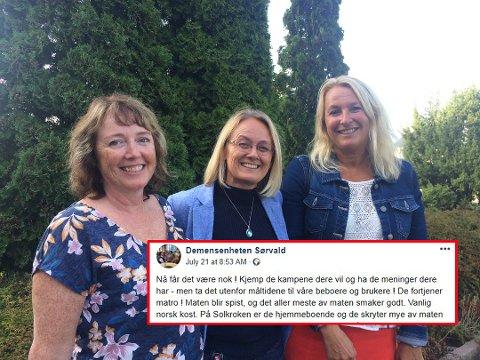– NEGATIVT FOKUS: F.v. Heidi Mannerud (tillitsvalgt), Bjørg Torill Madsen (kommunalsjef) og Wenche Mjønerud (tillitsvalgt) forteller om en krevende sommer for de ansatte på sykehjemmene.