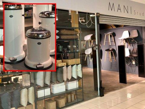 EKSKLUSIVT: Mani Studio selger eksklusive interiørprodukter – blant annet en søppelbøtte til 3.000 kroner (innfelt).