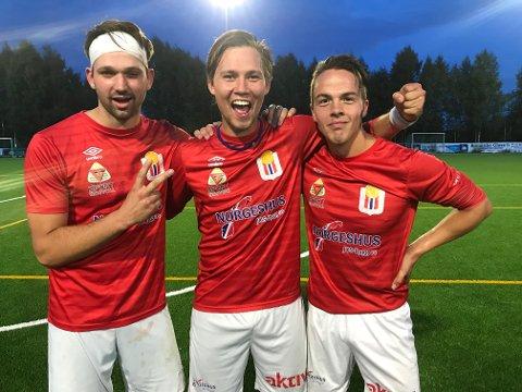 SENKET FET: Fredrik Kristiansen (2), Marius Rødsrud og Simen Martinsen scoret da Eidsvold IF vant sin andre strake seier.