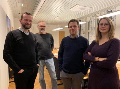 I MÅL: Gruppelederne Rune Bjerkestrand (Ap), Hans-Petter Sveen (MDG), Anders Klaseie (Sp) og Anne Finstad (SV).
