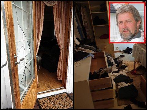 DRAMATISK: Slik så terrassedøra og soverommet til Terje Ranheim (infelt) ut da han kom hjem. Inne i huset var to av innbruddstyvene. FOTO: PRIVAT
