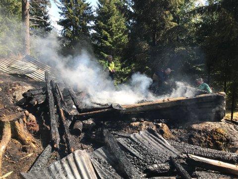 IKKE TIL Å REDDE: Den lille tømmerkoia var overtent da brannmannskapene kom fram.