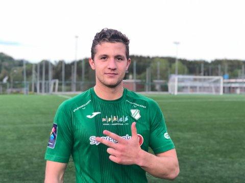 HATTRICK: Emil Åkvåg, som ble kåret til banens beste, sier han bare kan huske ett tidligere hat-trick i seniorkarrieren.
