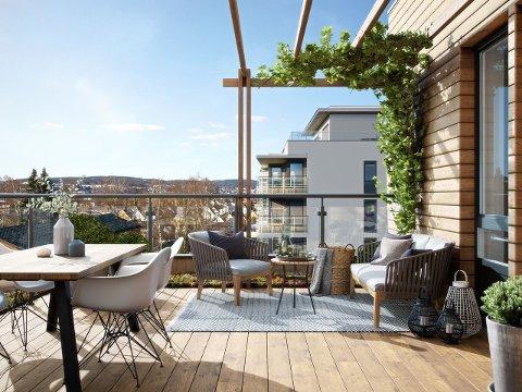 ILLUSTRASJON: Slik vil det se ut fra den private takterrassen fra 8.etasje i Fagerborgkvartalet i Lillestrøm.