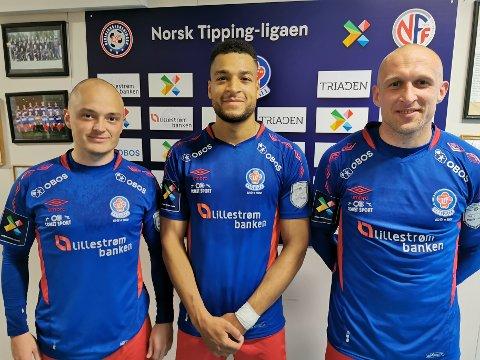 MÅLSCORERNE: To-målsscorer Riki Alba flankert av Mathias Kvalheim (t.v.) og Piotr Gawecki, sto for beholdningen til Lørenskog i lørdagens målprotokoll.