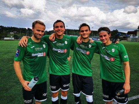 MÅLRUSH: Gjelleråsen leverte syv forskjellige målscorere søndag. Her er fire av dem. Fra venstre: Thomas Rydén, Strahinja Latkovic, Adrian El-Safadi og Ola Vestreng. Foto: Thomas Karlsen