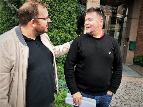 SLUTT: Styreleder Ronny Bergersen (t.v.) og daglig leder André Myklebust i Nebbenfestivalen møtte i skifteretten fredag da bostyreren la fram sin første rapport fra konkursbehandlingen. (Foto: Thor Fremmerlid)