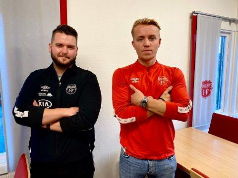 FORLENGER: Morten Renå Olsen (t.h.) har signert kontrakt ut 2021-sesongen, og det er Strømmen-trener Ole Martin Nesselquist fornøyd med.