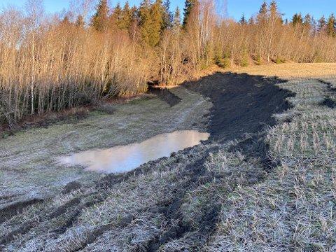 SKRED: I romjula gikk det et skred i tidligere Sørum kommune.