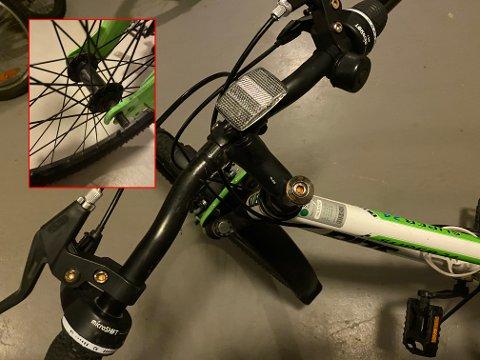 TUKLET MED: Både forhjulet og styret på sykkelen til Almas sønn (10) var helt løsnet da han skulle ut og sykle mandag ettermiddag.