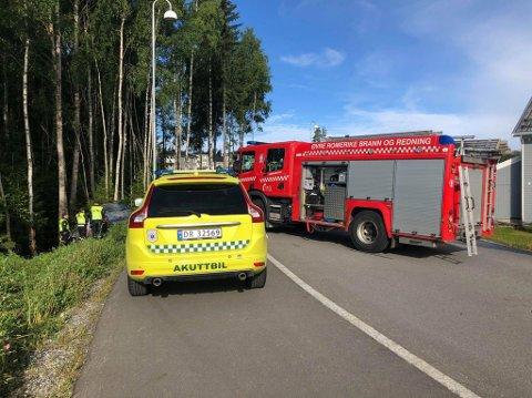 TRAFIKKULYKKE: Søndag morgen var det en trafikkulykke på Hvam i Nes.