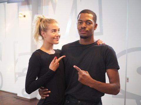 Helene Spilling og Nate Kahungu har trent sammen i litt over en uke, og har lagt ut glimt fra treningen på Instagram. Det har ført til flere rasistiske kommentarer. Foto: privat