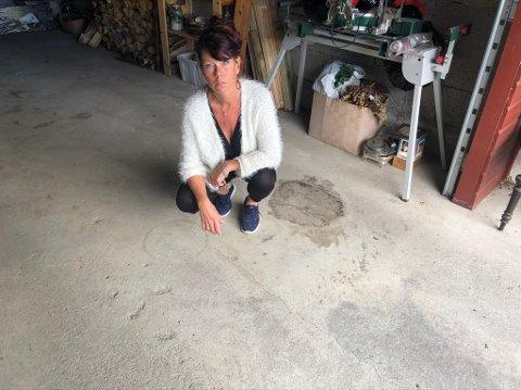 Da hun kom hjem fra sommerferie, oppdaget Hege Abrahamsen en langsgående sprekk midt på og tvers gjennom hele garasjegulvet.  Mot ytterveggen heller gulvet flere centimeter.