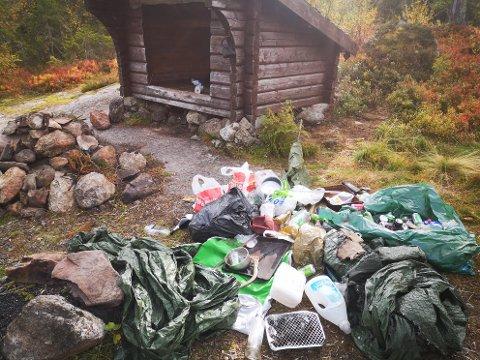 STORE MENGDER: Ølbokser, flasker, plastposer, emballasje og glasskår lå strødd utover hele friluftsområdet.