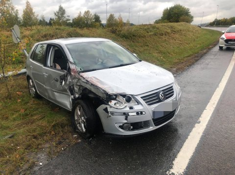 Skader: Slik så den andre bilen i ulykka ut.