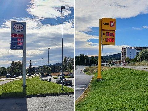 STOR VARIASJON: Det var tirsdag formiddag stor forskjell i drivstoffprisen mellom de to bensinstasjonene.
