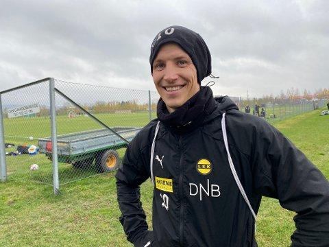 TILBAKE: Thomas Lehne Olsen var med på LSK-trening igjen etter at sykdom hindret ham fra å spille mot Viking.
