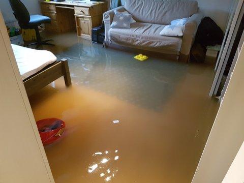 VANNSKADER: Slik så det ut i en kjeller på Østlandet etter at vannet tok seg inn og oversvømte kjelleren.