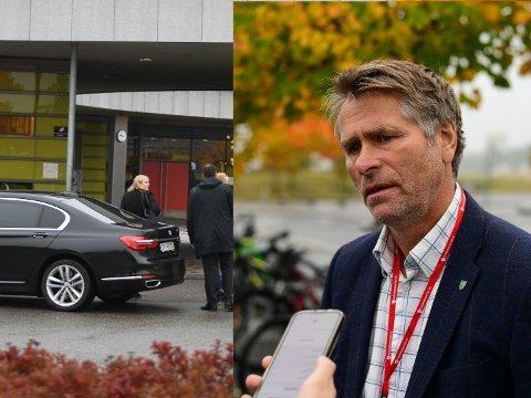 FIKK SVAR: De pårørende ble informert om årsaken til skredet onsdag morgen. Her er statsråd Tina Bru og ordfører Anders Østensen på vei inn til lokalene.