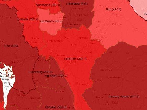 RØDT: Slik ser smittekartet over de fleste kommunene på Romerike ut akkurat nå. Skjermdump: Beredskapsetaten-K2
