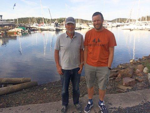 """FAR OG SØNN i TET: Yngve og Asbjørn Lønmo seiler båten """"Jakobine"""" ."""