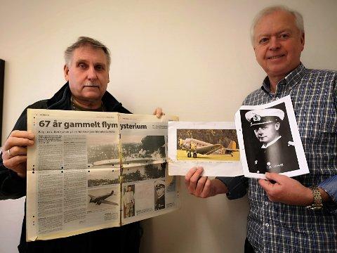VET NOEN NOE?: Olaf Olsen og Odd Møller håper noen sitter på informasjon som kan løse flystyrt-mysteriet fra 1940.