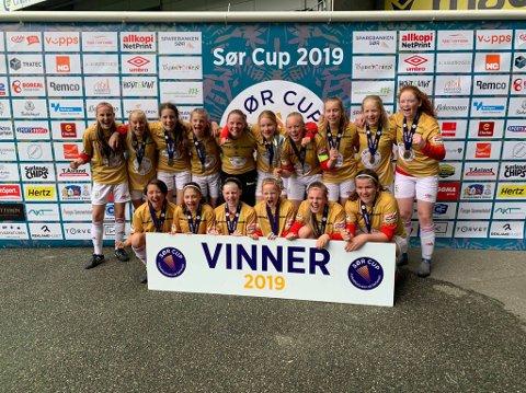 Hyggen/Huringens jenter 14 år vant alle kampene sine og gikk rett til topps i Sør-Cup í Kristiansand.