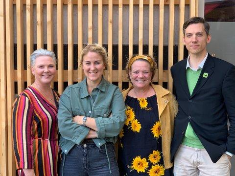 ENIGHET: Representantene Anne Beathe Tvinnereim (Sp), Tonje Brenna (Ap), Camilla Eidsvold (SV), Kristoffer Robin Haug (MdG) er enige om å forhandle om en felles rødgrønn plattform for fylkesråd i Viken.