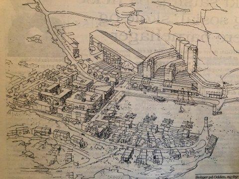 VANT: Slik så skissen av vinnerutkastet ut i 1989 - Slemmestads fjordby som skulle være klar til år 2000.