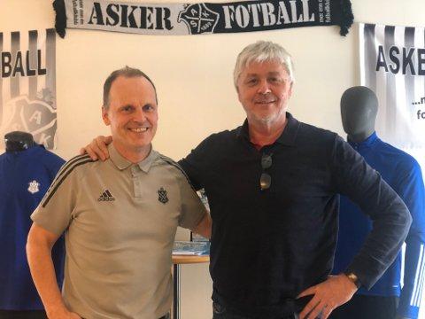 HAR TROA: Sportslig leder Rolf-Magne Walstad (t.v.) har troa på Asker-laget. - Vi får god konkurranse i kampene mot Stjørdals-Blink torsdag og søndag, men gutta våre er friske, skadefrie og i god form, sier han.