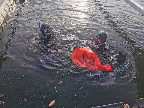 HEVEBALLONGER: Åtte sportsdykkere deltok under lørdagens ryddeaksjon ved Nærsnes båthavn.