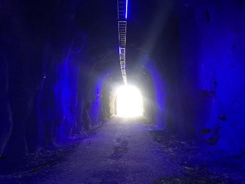 LYST: Tunnelen er 215 meter lang, og skifter farger flere ganger mens du passerer.