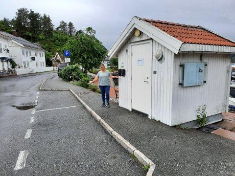 MERKELIG: Kirsten Ludviksen synes det er merkelig at det er satt opp ladere for elbil i Holmsbu sentrum, uten at man har satt av de to parkeringsplassene for ladende elbiler.