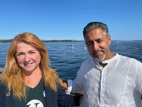 MILJØ: Abid Raja og Venstres stortingskandidat fra Asker; Elisabeth Holter Schøyen berømmer Vollen Marina i Asker for å lede an i det grønne skifte.