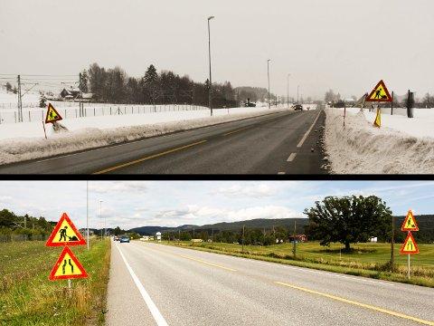 På grunn av ferieavvikling var veiarbeidet på Gamle Sørlandske ved Kopstadbrua forsinket i august. Det er et halvt år siden.