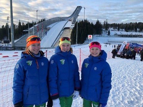 Fornøyd: Stafettjentene i J 13 – 14 år strålende fornøyde med dagens stafett. Eline Ekroll, Johanna Vedal Sjøl og Johanne Berven Agard.