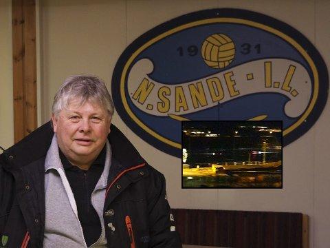 FORTVILER: Karl Einar Haslestad i Nordre Sande ILs bandygruppe fortviler etter at to karer benyttet bandybanen til glattkjøring natt til tirsdag (innfelt).