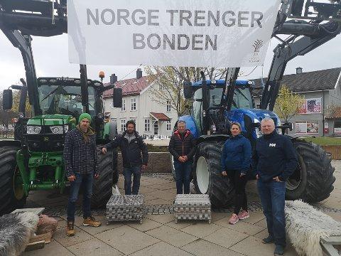 Heist opprørsfanen: Sande og Strømm Jordbrukslag tok til sentrum i fellesskap med landets øvrige bondeopprør. Bakgrunnen for protestene er bruddet i inntektsforhandlingene med regjeringen.