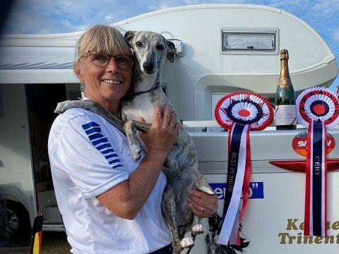 Torill Groth er aktiv innenfor hundeutstilling. Her med hennes whippet, Courtborne Gossip Girl, som tok hjem både vandrepokal og champagne ved forrige mesterskap.