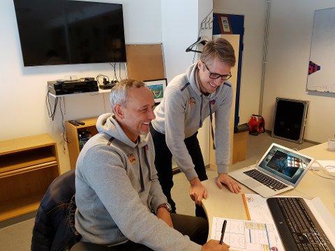 Geir Ludvig Fevang (til høyre) gleder seg til å ta fatt på jobben som assistenttrener for hovedtrener Lars Bohinen i Sandefjord Fotball.