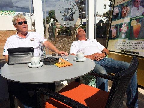 PORTFORBUD: Trond Fearnley og Petter Andresen er rammet av portforbudet på Gran Canaria. Fearnley har stengt sin restaurant og har ingen planer om å åpne igjen før til høsten. Bildet er tatt i forbindelse med en annen sak.
