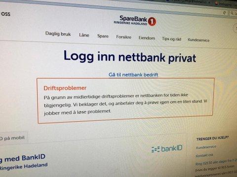 UTE AV DRIFT: Flere av bankene i Sparebank 1-samarbeidet har problemer mandag.