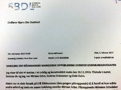 VARSELET: Dette er varslerbrevet advokat Arve Due Lund sendte til ordfører Bjørn Ole Gleditsch 5. februar i år, på vegne av kommuneadvokat Miriam Schei.