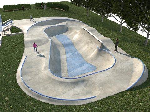 DEL TO: De siste pengene som nå kommer, skal brukes til å bygge denne bowl'en i rulleparken. Illustrasjon: Betongpark