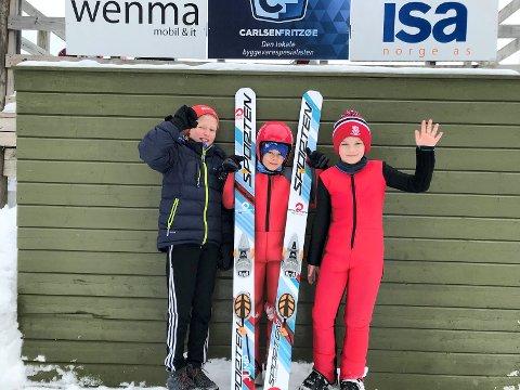 Sandar-hoppere: Fra venstre: Brage Stensland-Larsen, Emil Westgård Lund og Linus Brathagen.