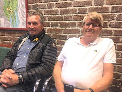 FORNØYDE: Leiv W. Eriksen (t.v.) og Kjell E. Nilsen fra Cosmic Bygg fulgte debatten om Stub-prosjektet i planutvalget, og var tilfredse med resultatet.